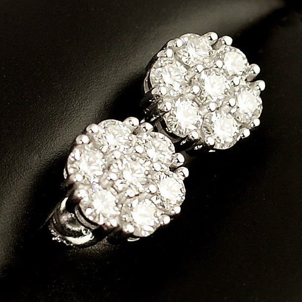 1.40 Carat Certified VVS1 Moissanite Cluster Earrings