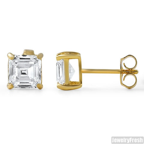 14k Gold over Silver Asscher Cut CZ Studs