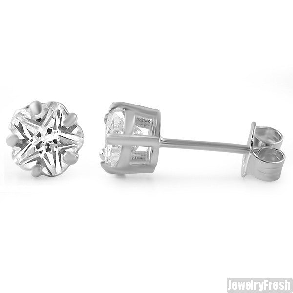 925 Sterling Silver Flower Cut CZ Stud Earrings