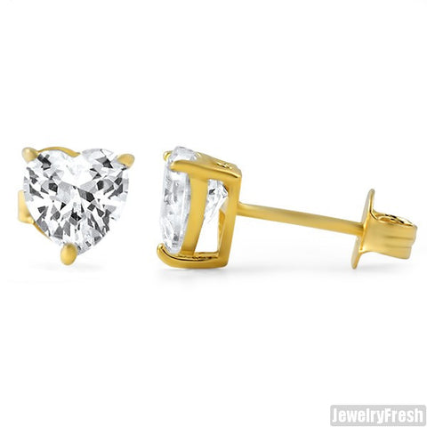 14k Gold Finish Heart Shape Superior CZ Studs