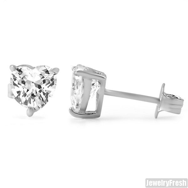 Sterling Silver Heart Shape Superior CZ Studs