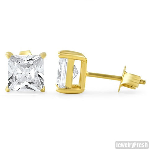 14k Gold Finish Superior Princess Cut CZ Studs