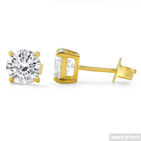 14k Finish Superior Grade CZ Round Studs