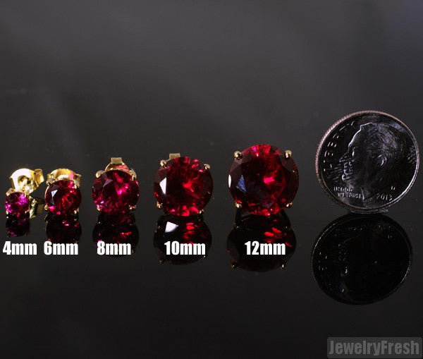14k Gold Finish Lab Made Ruby Stud Earrings