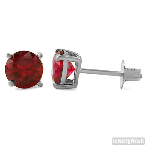 Sterling Silver Lab Made Ruby Stud Earrings