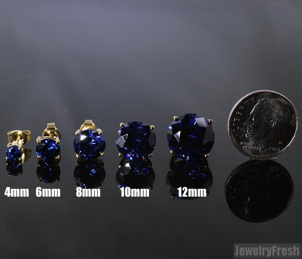 14k Gold Finish Lab Made Sapphire Studs