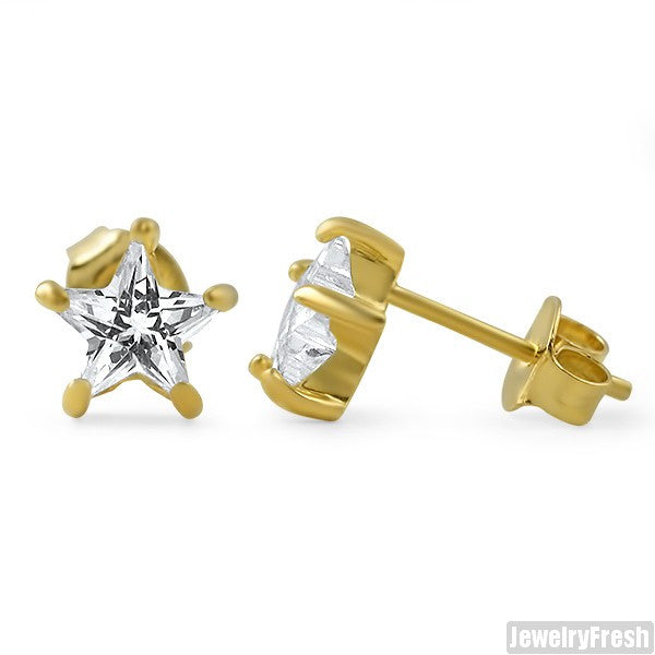14k Gold Finish Star Cut CZ Stud Earrings