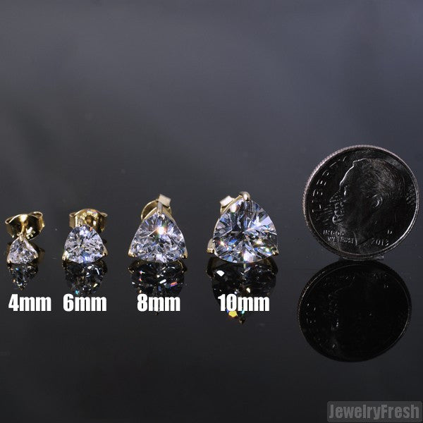 14k Gold Finish Trillion Cut Superior CZ Studs