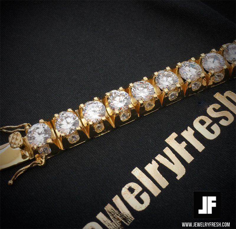 Gold 3D Iced Out Tennis Bracelet