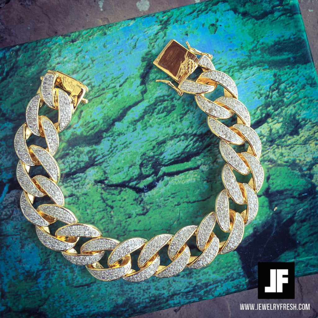 18mm Iced Gold Plated Miami Cuban Bracelet
