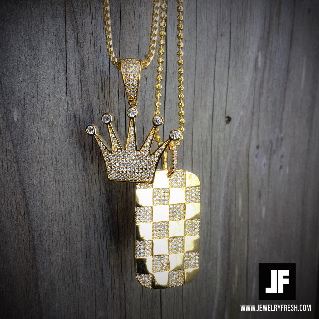 Gold Checkered Dogtag Pendant With Chain