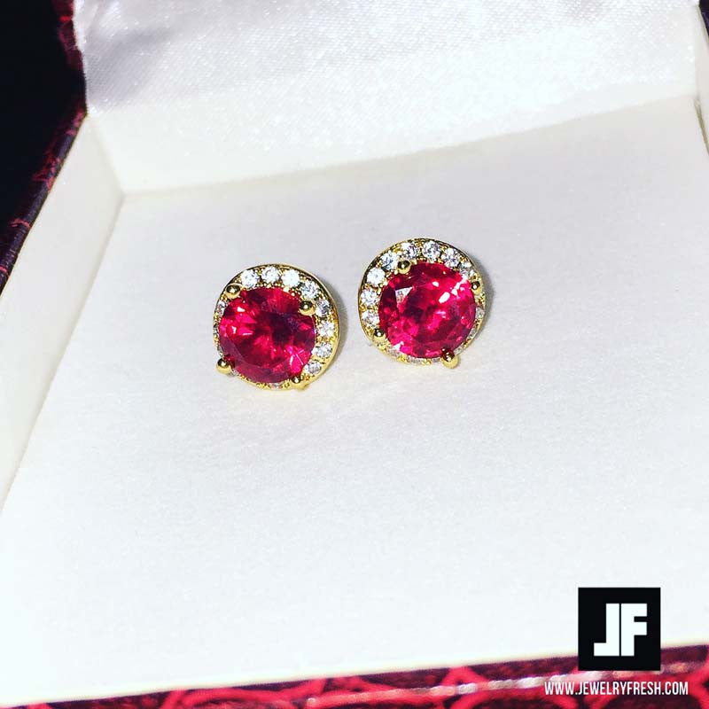Gold Finish Synthetic Ruby CZ Halo Earrings