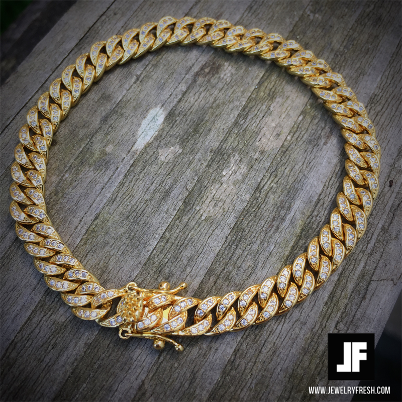 6mm Gold Iced Out Miami Cuban Bracelet