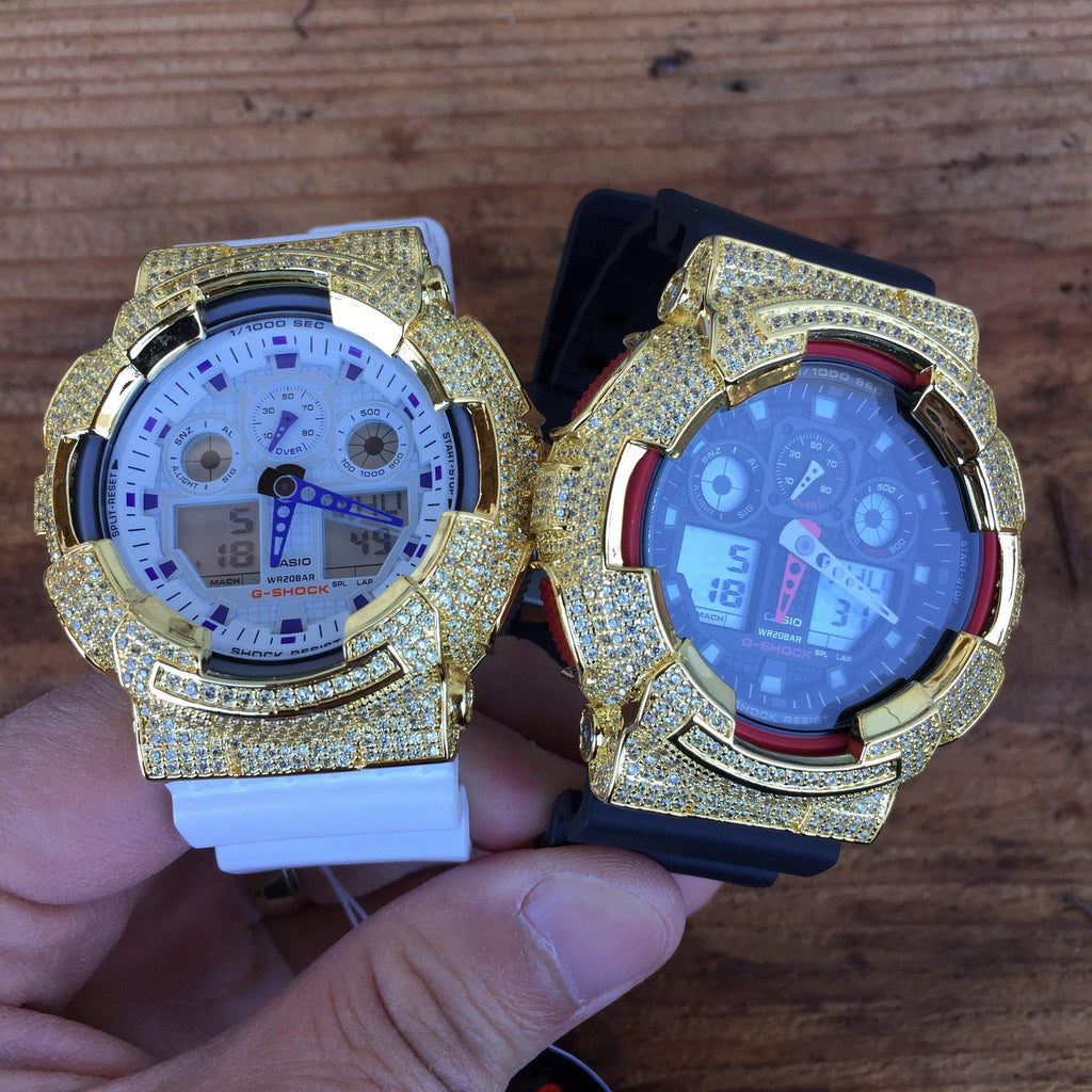 Gold Canary Custom CZ Casio G-Shock GA-100