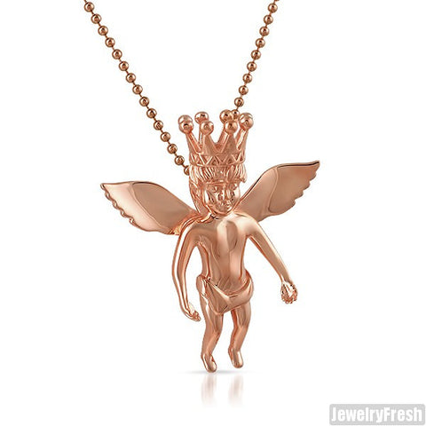 Rose Gold IP Plain Angel With Crown Necklace