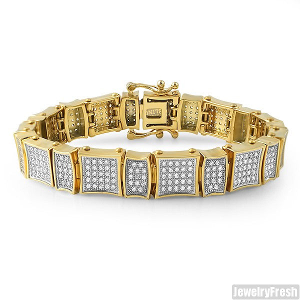 Gold IP Steel Simulated Diamond Kite Bracelet