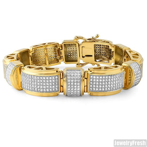 14K Gold IP Steel Oversized Domed Bracelet