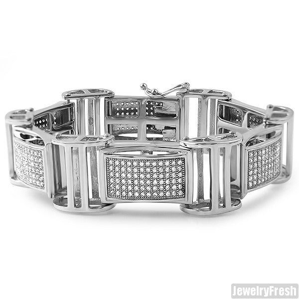 Stainless Steel Jumbo Fully Iced Bracelet
