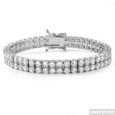 5.5 CTW Steel 2 Row Lab Made Bracelet