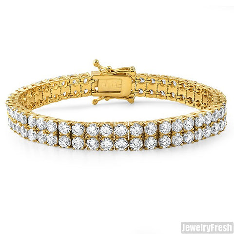 5.5CTW Steel 14K Gold IP 2 Row Bracelet