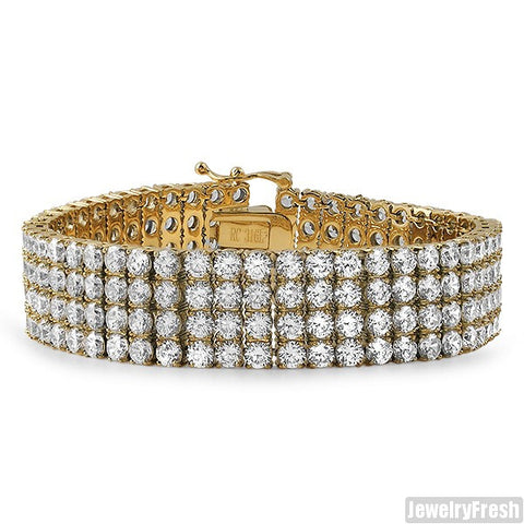 14K Gold IP Triple Plated CZ 4 Row Bracelet