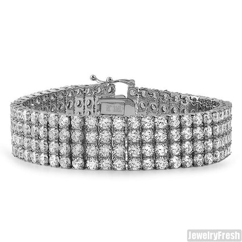 Stainless Steel Flawless CZ 4 Row Bracelet