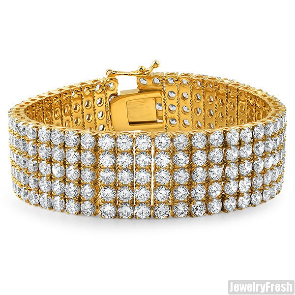 13.75 CTW Steel 14K Gold IP 5 Row Bracelet