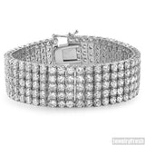 13.75 CTW Steel 5 Row Lab Made Bracelet