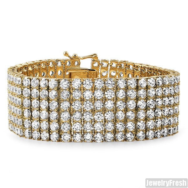 14K Gold IP Triple Plated 6 Row CZ Bracelet