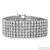 Stainless Steel Mens 6 Row CZ Bracelet