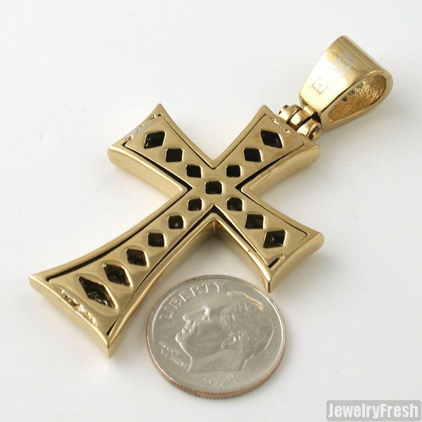 14K Gold IP Steel Lab Made Iron Cross