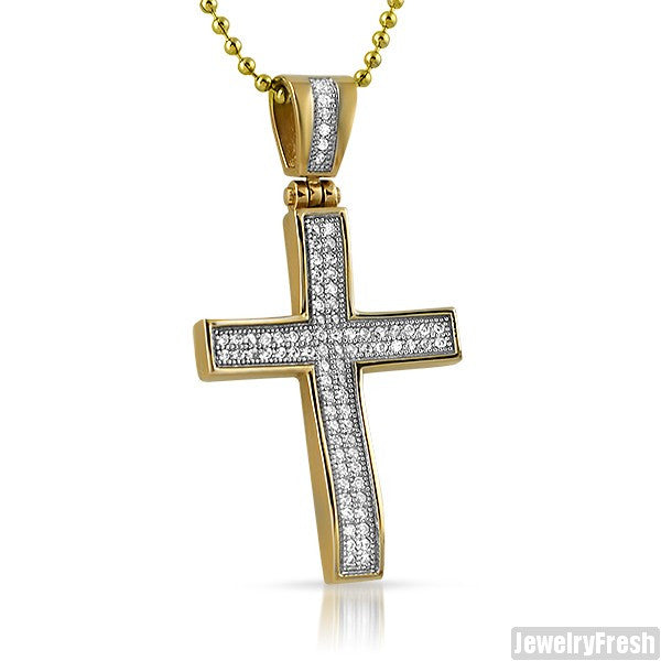 14K Gold IP Steel CZ Skinny Wave Cross
