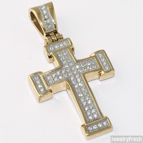 14K Gold IP Steel Mini Iced Out Cross