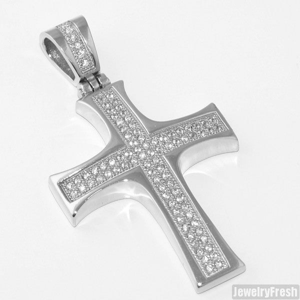 Stainless Steel Domed CZ Cross Pendant