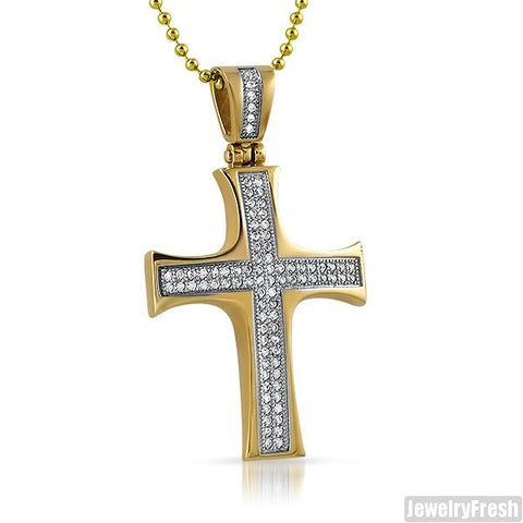 14K Gold IP Steel Domed CZ Cross Pendant
