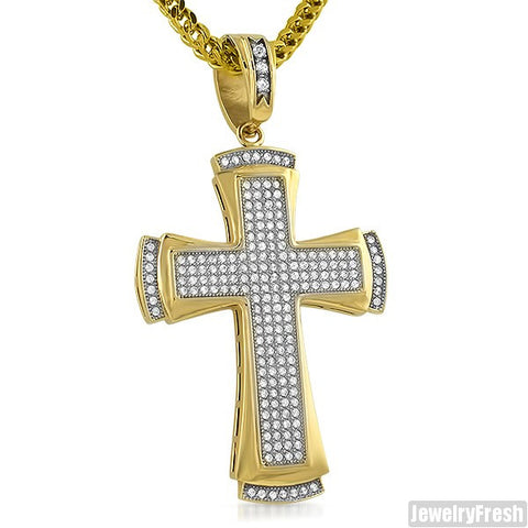 14K Gold IP Steel Classic Lab Made Cross