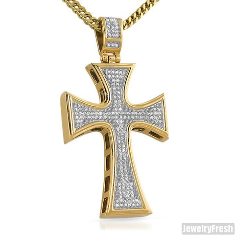 14K Triple Plated Large Iced Out CZ Cross