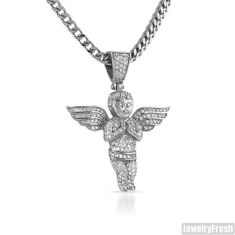 Stainless Steel Full Iced Angel Pendant