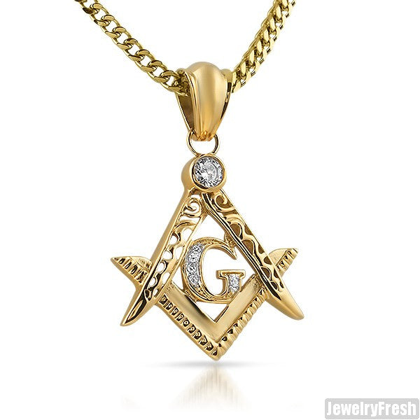 14K Triple Plated Freemason Pendant
