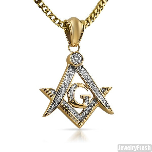 14k gold ip iced out masonic pendant jewelryfresh 14k gold ip iced out masonic pendant aloadofball Gallery