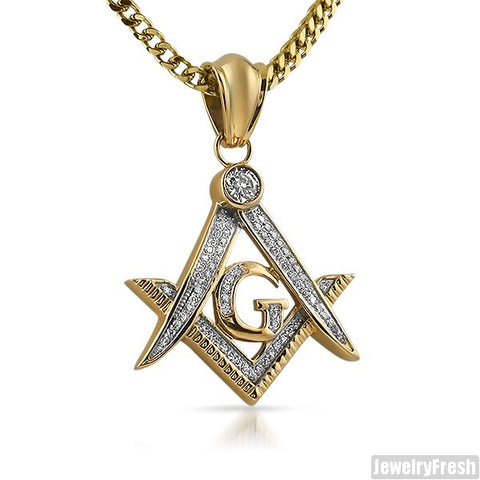 14K Gold IP Iced Out Masonic Pendant