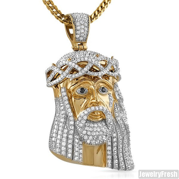 Large 3D Jesus Piece Triple Plated Gold