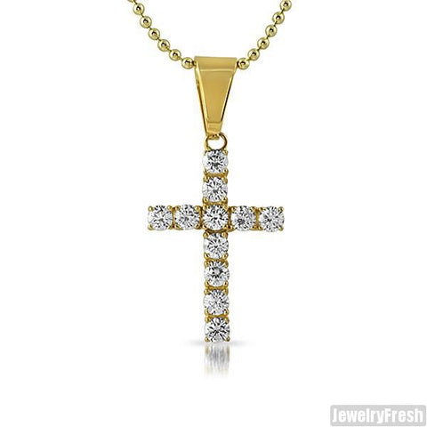 2.75 Carat CZ Cross 14K Gold IP Finish