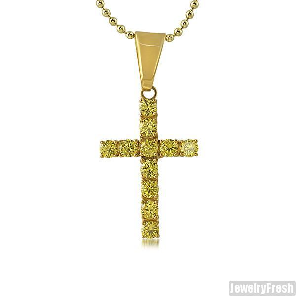 2.75 Carat Canary CZ Cross 14K Gold IP