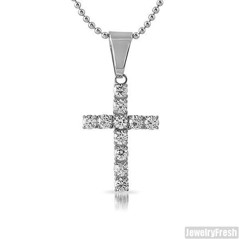 Stainless Steel 2.75 Carat CZ Cross