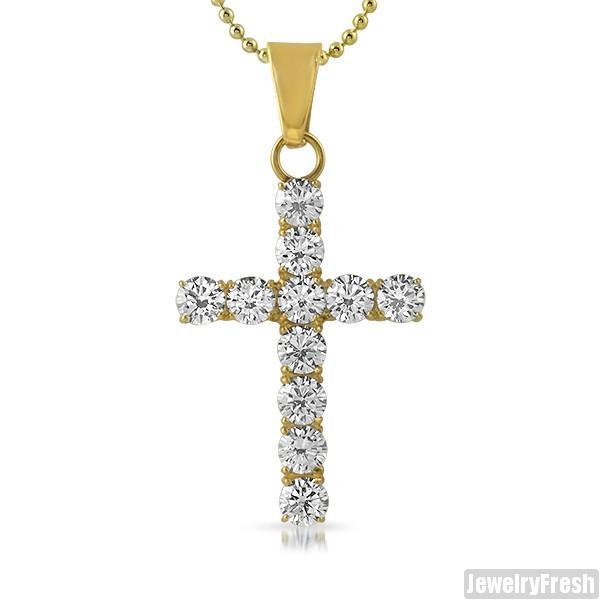 14K Gold IP 9.35 Carat Flawless CZ Cross