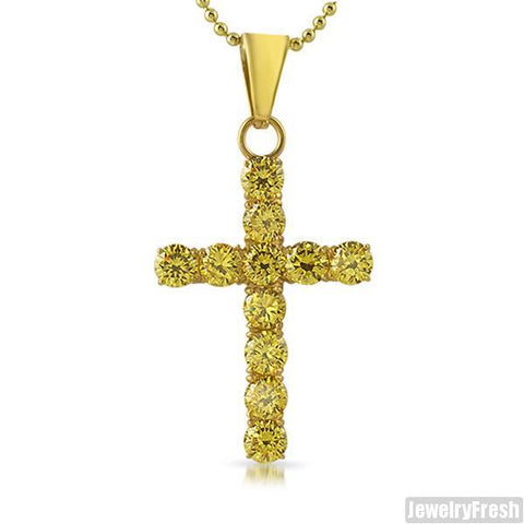 14K Gold IP 9.35 Carat Canary CZ Cross