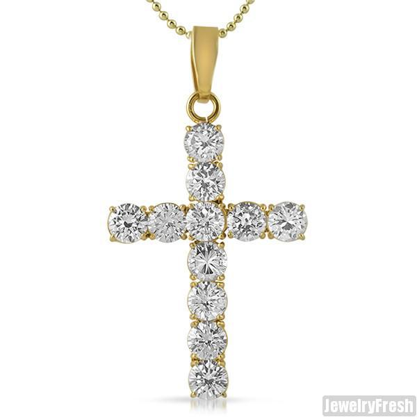 22 Carat Large Stone CZ Cross 14K Gold IP