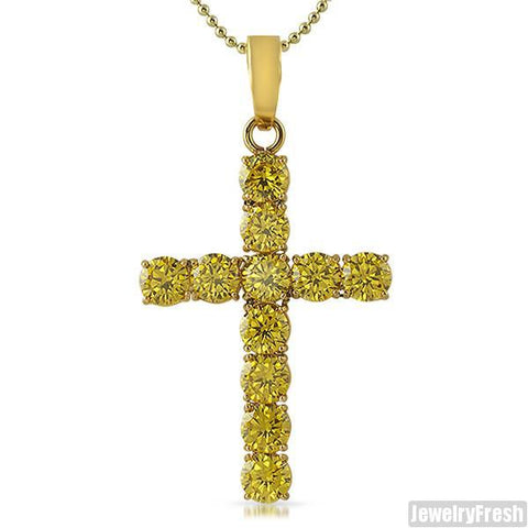 22 Carat Large Canary CZ Cross 14K Gold IP
