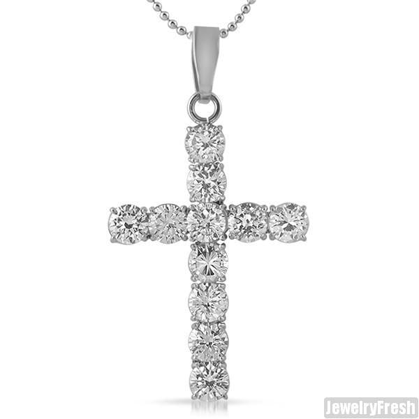 22 Carat Large Stainless Steel CZ Cross